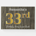 [ Thumbnail: Rustic, Faux Gold 33rd Birthday Party; Custom Name Guest Book ]