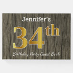 [ Thumbnail: Rustic, Faux Gold 34th Birthday Party; Custom Name Guest Book ]