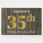 [ Thumbnail: Rustic, Faux Gold 35th Birthday Party; Custom Name Guest Book ]
