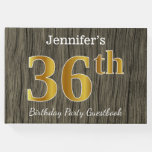 [ Thumbnail: Rustic, Faux Gold 36th Birthday Party; Custom Name Guest Book ]
