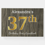 [ Thumbnail: Rustic, Faux Gold 37th Birthday Party; Custom Name Guest Book ]