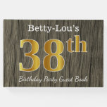 [ Thumbnail: Rustic, Faux Gold 38th Birthday Party; Custom Name Guest Book ]