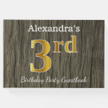 [ Thumbnail: Rustic, Faux Gold 3rd Birthday Party + Custom Name Guest Book ]