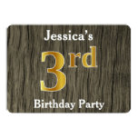 [ Thumbnail: Rustic, Faux Gold 3rd Birthday Party; Custom Name Invitation ]