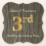 [ Thumbnail: Rustic, Faux Gold 3rd Wedding Anniversary Party Paper Coaster ]