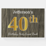 [ Thumbnail: Rustic, Faux Gold 40th Birthday Party; Custom Name Guest Book ]