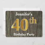 [ Thumbnail: Rustic, Faux Gold 40th Birthday Party; Custom Name Invitation ]