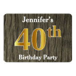 [ Thumbnail: Rustic, Faux Gold 40th Birthday Party; Custom Name Invitation ]