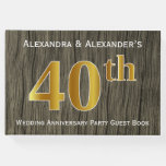 [ Thumbnail: Rustic, Faux Gold 40th Wedding Anniversary Party Guest Book ]