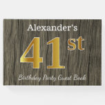 [ Thumbnail: Rustic, Faux Gold 41st Birthday Party; Custom Name Guest Book ]