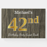 [ Thumbnail: Rustic, Faux Gold 42nd Birthday Party; Custom Name Guest Book ]