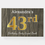 [ Thumbnail: Rustic, Faux Gold 43rd Birthday Party; Custom Name Guest Book ]