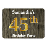 [ Thumbnail: Rustic, Faux Gold 45th Birthday Party; Custom Name Invitation ]