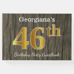 [ Thumbnail: Rustic, Faux Gold 46th Birthday Party; Custom Name Guest Book ]