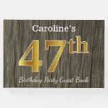 [ Thumbnail: Rustic, Faux Gold 47th Birthday Party; Custom Name Guest Book ]