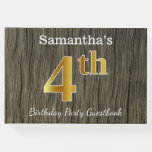 [ Thumbnail: Rustic, Faux Gold 4th Birthday Party + Custom Name Guest Book ]