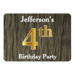 [ Thumbnail: Rustic, Faux Gold 4th Birthday Party; Custom Name Invitation ]