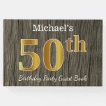 [ Thumbnail: Rustic, Faux Gold 50th Birthday Party; Custom Name Guest Book ]
