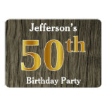 [ Thumbnail: Rustic, Faux Gold 50th Birthday Party; Custom Name Invitation ]