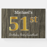 [ Thumbnail: Rustic, Faux Gold 51st Birthday Party; Custom Name Guest Book ]