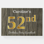 [ Thumbnail: Rustic, Faux Gold 52nd Birthday Party; Custom Name Guest Book ]
