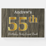 [ Thumbnail: Rustic, Faux Gold 55th Birthday Party; Custom Name Guest Book ]