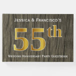 [ Thumbnail: Rustic, Faux Gold 55th Wedding Anniversary Party Guest Book ]