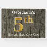 [ Thumbnail: Rustic, Faux Gold 5th Birthday Party + Custom Name Guest Book ]