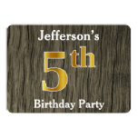 [ Thumbnail: Rustic, Faux Gold 5th Birthday Party; Custom Name Invitation ]