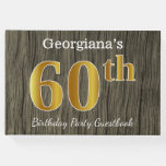 [ Thumbnail: Rustic, Faux Gold 60th Birthday Party; Custom Name Guest Book ]