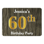 [ Thumbnail: Rustic, Faux Gold 60th Birthday Party; Custom Name Invitation ]