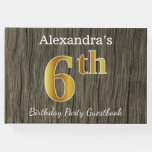 [ Thumbnail: Rustic, Faux Gold 6th Birthday Party + Custom Name Guest Book ]
