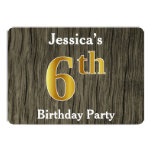 [ Thumbnail: Rustic, Faux Gold 6th Birthday Party; Custom Name Invitation ]