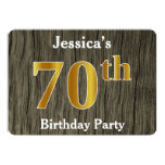 [ Thumbnail: Rustic, Faux Gold 70th Birthday Party; Custom Name Invitation ]