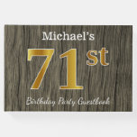 [ Thumbnail: Rustic, Faux Gold 71st Birthday Party; Custom Name Guest Book ]