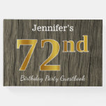 [ Thumbnail: Rustic, Faux Gold 72nd Birthday Party; Custom Name Guest Book ]