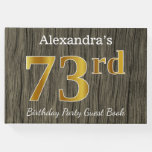 [ Thumbnail: Rustic, Faux Gold 73rd Birthday Party; Custom Name Guest Book ]