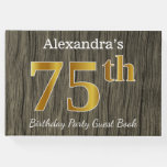 [ Thumbnail: Rustic, Faux Gold 75th Birthday Party; Custom Name Guest Book ]
