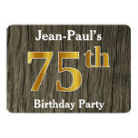 [ Thumbnail: Rustic, Faux Gold 75th Birthday Party; Custom Name Invitation ]