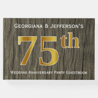 Rustic Faux Gold 75th Wedding Anniversary Party Guest Book