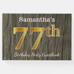 [ Thumbnail: Rustic, Faux Gold 77th Birthday Party; Custom Name Guest Book ]