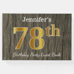 [ Thumbnail: Rustic, Faux Gold 78th Birthday Party; Custom Name Guest Book ]