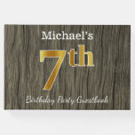 [ Thumbnail: Rustic, Faux Gold 7th Birthday Party + Custom Name Guest Book ]