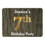 [ Thumbnail: Rustic, Faux Gold 7th Birthday Party; Custom Name Invitation ]
