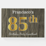 [ Thumbnail: Rustic, Faux Gold 85th Birthday Party; Custom Name Guest Book ]