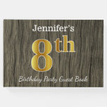 [ Thumbnail: Rustic, Faux Gold 8th Birthday Party + Custom Name Guest Book ]