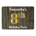 [ Thumbnail: Rustic, Faux Gold 8th Birthday Party; Custom Name Invitation ]
