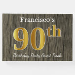 [ Thumbnail: Rustic, Faux Gold 90th Birthday Party; Custom Name Guest Book ]