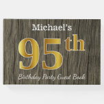 [ Thumbnail: Rustic, Faux Gold 95th Birthday Party; Custom Name Guest Book ]