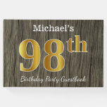 [ Thumbnail: Rustic, Faux Gold 98th Birthday Party; Custom Name Guest Book ]